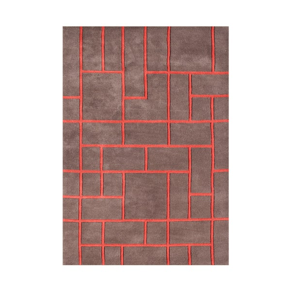 Shop Alliyah Pecan Brown Geometric Brick Wool Accent Rug