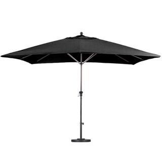 California Umbrella 11'X8' Rectangle Aluminum Market Umbrella, Crank Lift with Telescoping Pole, Bronze Finish, Sunbrella Fabric