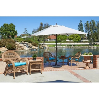 California Umbrella 11'X8' Rectangle Aluminum Market Umbrella, Crank Lift with Telescoping Pole, Bronze Finish, Sunbrella Fabric