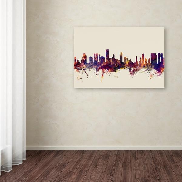 Michael Tompsett 'Honolulu Hawaii Skyline' Canvas Art