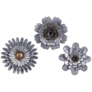 Hillary Galvanized Wall Flowers (Set of 3)