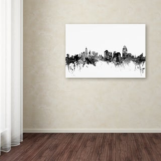 Michael Tompsett 'Cincinnati Ohio Skyline B&W' Canvas Art