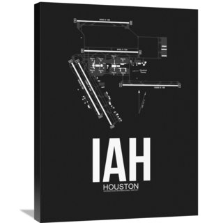 Naxart Studio 'IAH Houston Airport Black' Stretched Canvas Wall Art