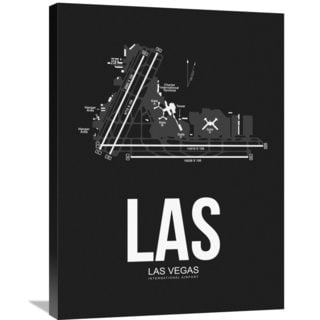 Naxart Studio 'LAS Las Vegas Airport Black' Stretched Canvas Wall Art