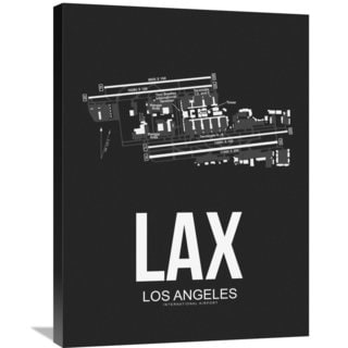 Naxart Studio 'LAX Los Angeles Airport' Black Stretched Canvas Wall Art