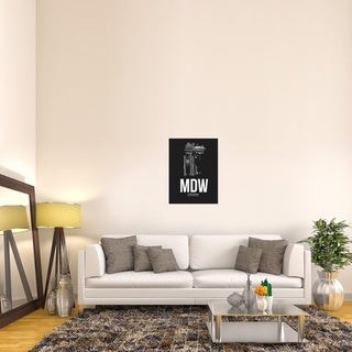 Naxart Studio 'MDW Chicago Airport Black' Stretched Canvas Wall Art