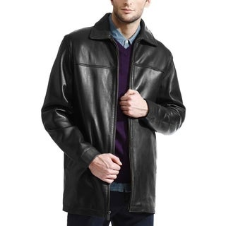 Men's Black Lambskin Leather Half Coat with Front Zip