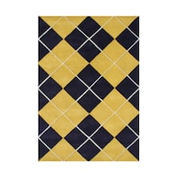 Alliyah Black, Yellow Wool Argyle Maize Area Rug - 5' x 8'