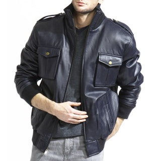 Tanners Avenue Men's Navy Blue Lamb-leather Bomber Jacket