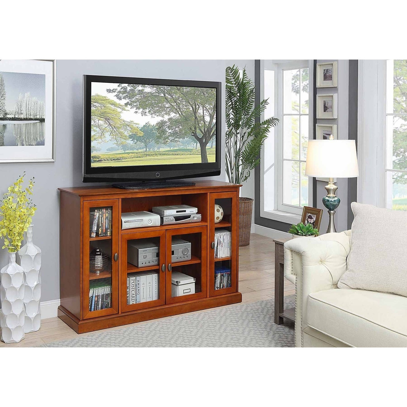 DESIGNS2GO Summit Highboy TV Stand Espresso Finish
