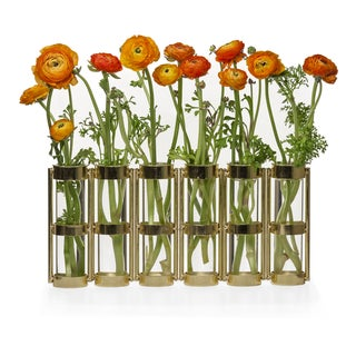 Danya B Metallic Gold Six Tube Hinged Vase