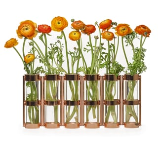 Danya B Metallic Rose Gold Six Tube Hinged Vase