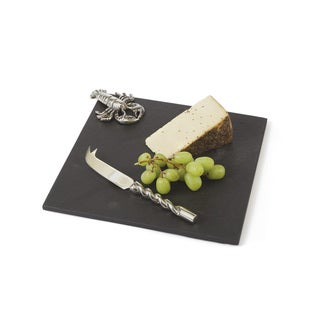 Hip Vintage Scarlet Black Stoneware Cheese Platter and Knife Set