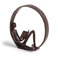 Danya B 'Encircled Reader' Brown Iron Sculpture