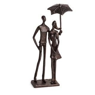 Danya B. Loving Couple Under Umbrella Bronze Sculpture