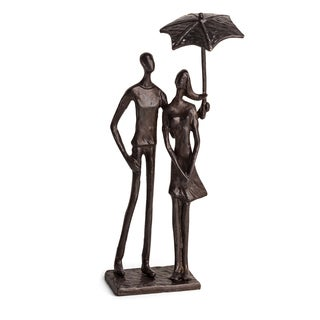 Danya B Loving Couple Under Umbrella Bronze Sculpture