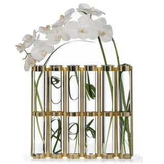 Danya B Tall Metallic Gold Six-Tube Hinged Vase