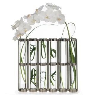 Danya B Tall Metallic Silver Six-Tube Hinged Vase
