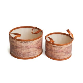 Hip Vintage Leather/Canvas Set of 2 Mondo Tubs