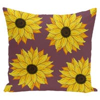 16 x 16-inch Sunflower Power Floral Print Outdoor Pillow