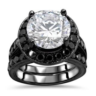 Noori 14k Black Rhodium-plated White Gold 3/5-carat Round-cut Moissanite Black Diamond Engagement Ri (More options available)