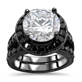 Noori 14k Black Rhodium-plated White Gold 3/5-carat Round-cut Moissanite Black Diamond Engagement Ring Set