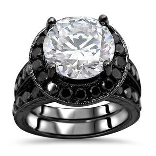 Noori 14k Black Rhodium-plated White Gold 3/5-carat Round-cut Moissanite Black Diamond Engagement Ri