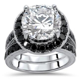 Noori 14k White Gold 4.6k TGW Round Moissanite Black Diamond Engagement Ring Bridal Set (More options available)