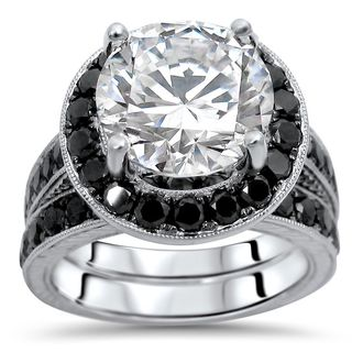 Noori 14k White Gold 4.6k TGW Round Moissanite Black Diamond Engagement Ring Bridal Set