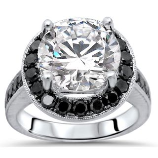 Noori 14k White Gold 4-carat TGW Round Moissanite Black Diamond Engagement Ring