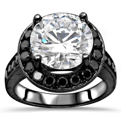 Noori 14k Black Gold 4k TGW Round Moissanite Black Diamond Engagement Ring - White