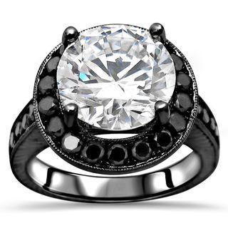 Noori 14k Black Gold 4k TGW Round Moissanite Black Diamond Engagement Ring - White