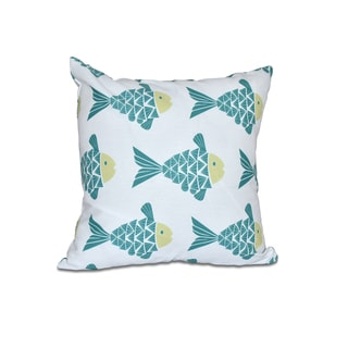16 x 16-inch Fish Tales Animal Print Outdoor Pillow