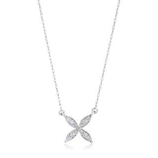 SummerRose 14k White Gold 1/6ct TDW Diamond Motif Necklace