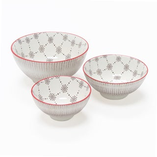 Chantal Brown and Red Patterned Bowls (Set of 3)