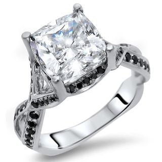 Noori 14k White Gold Cushion Moissanite Black Diamond Engagement Ring