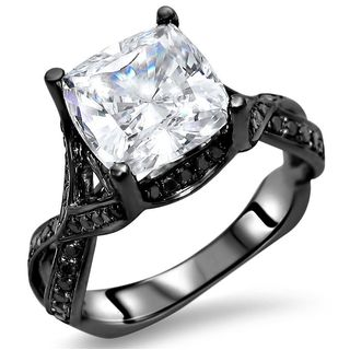 Noori 14k Black Gold 2 2/5-carat TGW Cushion Moissanite Black Diamond Engagement Ring