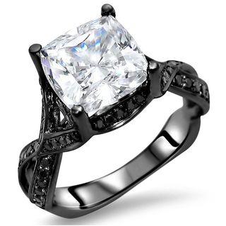 Noori 14k Black Gold 2 2/5-carat TGW Cushion Moissanite Black Diamond Engagement Ring - White