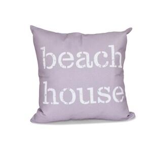 16 x 16-inch Beach House Word Print Outdoor Pillow