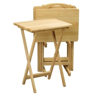 Winsome Natural Wood 5-piece Home Living Room Snack Table Set