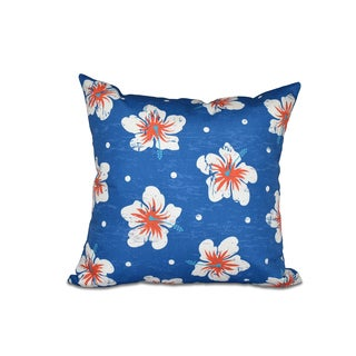 16 x 16-inch Hibiscus Blooms Floral Print Outdoor Pillow