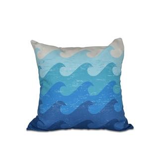 16 x 16-inch Deep Sea Geometric Print Outdoor Pillow