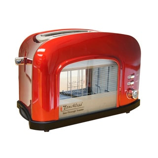 iTouchless Candy Apple Red Transparent 2-slice Automatic Bread Toaster