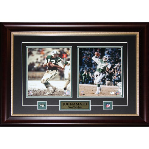 New York Jets Joe Namath Framed 2-photo Signed Wall Plaque