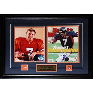 Denver Broncos John Elway 27-inch x 18-inch Signed Two-Photo Frame