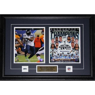 Seattle Seahawks Marshawn Lynch Superbowl XLVIII 2-photo Framed Wall Plaque