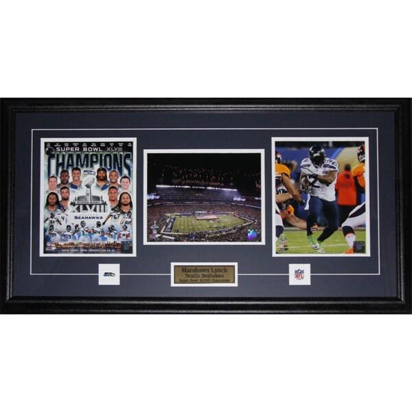 Seattle Seahawks Marshawn Lynch Superbowl XLVIII 3-photo Framed Wall Plaque