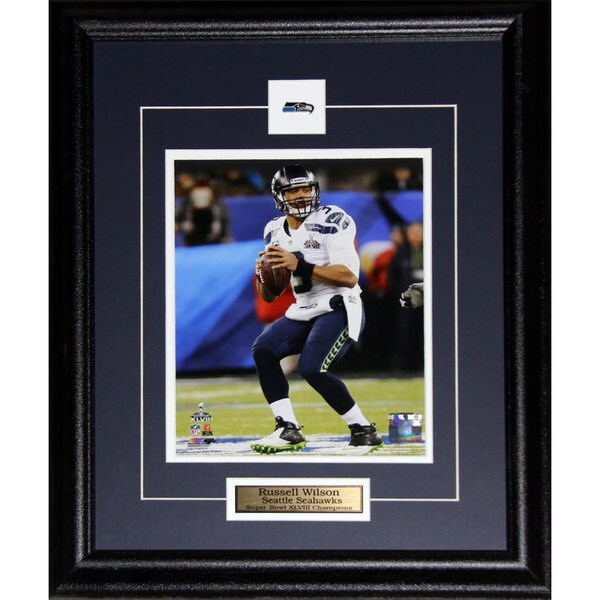 Seattle Seahawks Russell Wilson Superbow XLVIII 8-inch x 10-inch Framed Wall Plaque