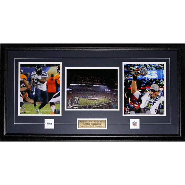 Seattle Seahawks Russell Wilson and Marshawn Lynch Super Bowl XLVIII 3-photo Frame