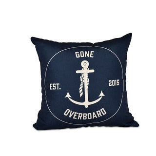 16 x 16-inch Gone Overboard Word Print Outdoor Pillow